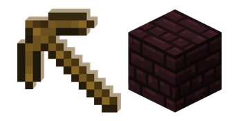 Minecraft Wooden Pickaxe and Nether Bricks