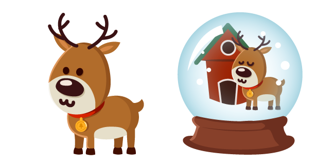 Christmas Deer and Snow Globe Cursor