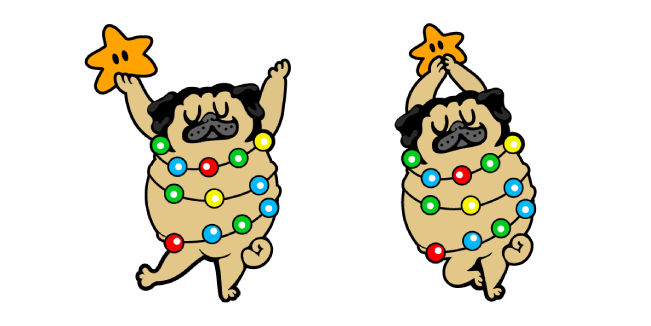Cute Christmas Tree Pug Cursor