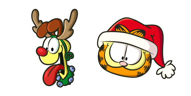 Christmas Garfield and Odie Cursor
