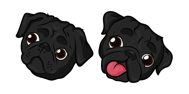Black Pug Dog Cursor