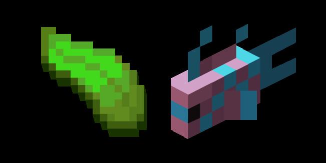 Minecraft Kelp and LightBlue-Pink Spotty Fish Cursor