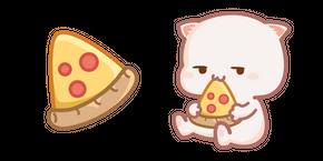 Cute Mochi Mochi Peach Cat and Pizza Cursor