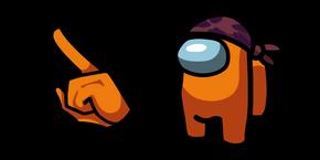 Among Us Orange Character in Do-Rag Hat Cursor