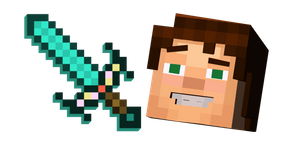 Minecraft Story Mode Jesse and Enchanted Diamond Sword