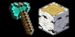 Minecraft Diamond Axe and Birch Log