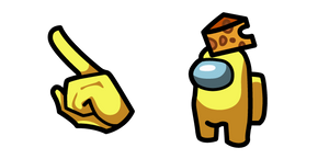 Among Us Yellow Character in Cheese Hat Cursor