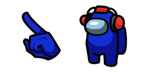 Among Us Blue Character in Landing Headset