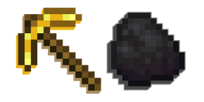 Minecraft Golden Pickaxe and Coal