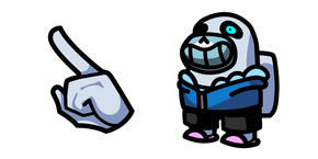 Among Us White Character in Sans Outfit Cursor