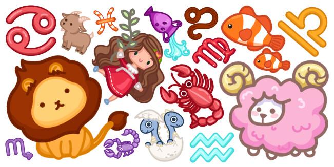 Cute Zodiac Signs cursor collection