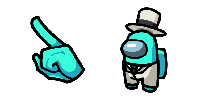 Among Us Cyan Character in White Suit Outfit