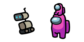 Among Us Pink Character in Crewmate Hat and Robot Cursor