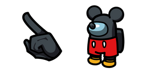 Among Us Black Character in Mickey Mouse Outfit Cursor